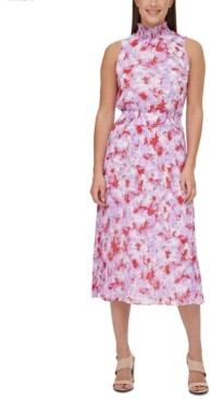 Calvin Klein Printed Smocked Dress