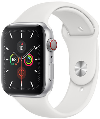Apple Watch Series 5 GPS + Cellular, 44mm Silver Aluminum Case with White Sport Band - S/M & M/L