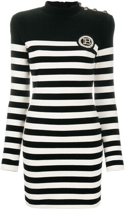 Balmain Velvet-Effect Striped Dress
