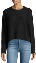Cheap Monday Long-Sleeve Crop Sweater, Punk Black