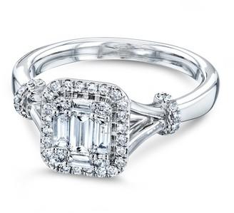 Annello by Kobelli 10k White Gold 1/2 Carat TDW Rectangular Clustuer Baguette Diamond Halo Split Shank Bow Accent Ring