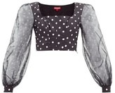 STAUD Balloon-sleeve Polka-dot Cotton-blend Cropped Top - Womens - Black White