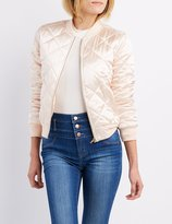 Charlotte Russe Quilted Satin Bomber Jacket