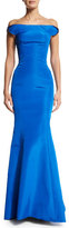 Zac Posen Off-The-Shoulder Two-Tone Gown, Brilliant Blue/Midnight