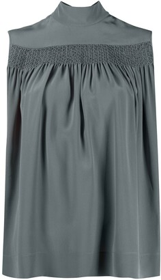 Rochas Sleeveless Smocked Silk Blouse