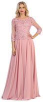 May Queen - Quarter Sleeve Lacy Top Chiffon Long Gown MQ1279