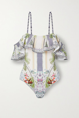 Camilla Off-the-shoulder Embellished Printed Swimsuit - White