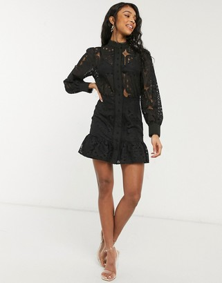 In The Style x Lorna Luxe geo lace puff sleeve mini dress in black