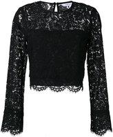 Diane von Furstenberg floral lace cropped blouse - women - Cotton/Polyamide/Polyester/Viscose - 2