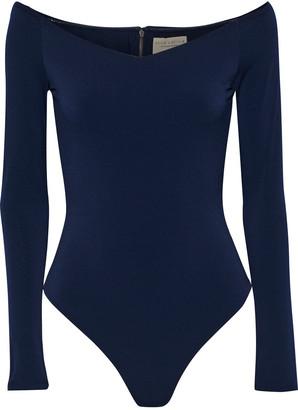 Alice + Olivia Lynetta Off-the-shoulder Stretch-crepe Thong Bodysuit