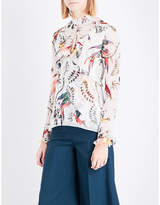 Erdem Paisley Parrot-print silk-voile top