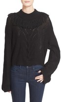 Tanya Taylor Women's 'Ruth' Fringe Trim Alpaca Blend Crop Sweater
