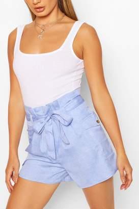 boohoo High Waist Pocket Detail Paperbag Shorts