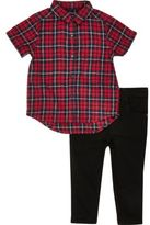 River Island Mini boys red check shirt jeans outfit