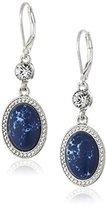NINE WEST VINTAGE AMERICA Silver-Tone and Denim Blue Oval Drop Earrings