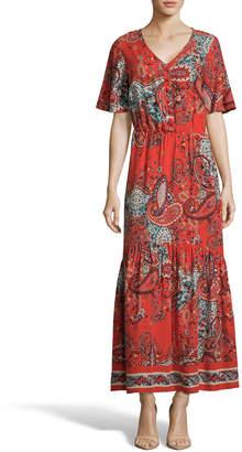 Label By 5twelve Paisley-Print V-Neck Short-Sleeve Maxi Dress