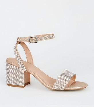 New Look Girls Diamante Block Heel Sandals