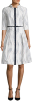 Carolina Herrera Cotton Striped Stand Collar Flared Dress