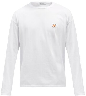 MAISON KITSUNÉ Fox-head Cotton-jersey Long-sleeve T-shirt - White