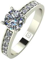 Moissanite 9ct Gold 1 Carat Round Brilliant Solitaire Ring With Stone Set Shoulders