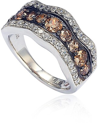Suzy Levian Sterling Silver Brown & White CZ Wave Ring