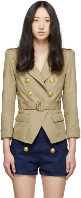 Balmain Beige Cotton and Linen Blazer