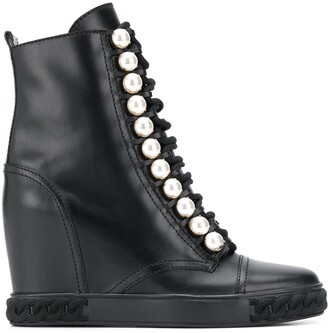 Casadei Pearl-Embellished Wedge Boots