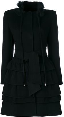 Ermanno Scervino Frilled Belted Coat