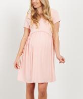 PinkBlush Pink Crochet-Accent Maternity A-Line Dress