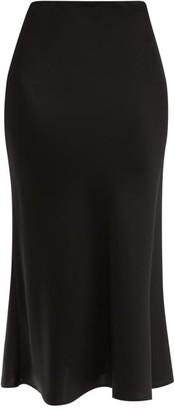 Galvan Valletta Flared Satin Midi Skirt - Black