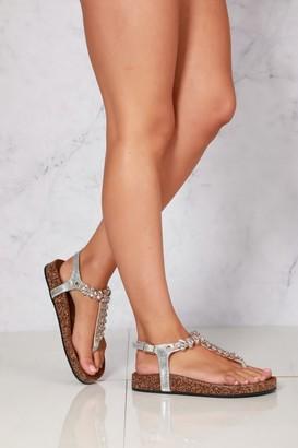 Miss Diva Flynn t bar diamante flower detailed sandal in Silver