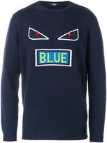 Fendi Bag Bugs Blue embroidered sweater