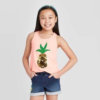 Cat & Jack Girls' Flip Sequin Pineapple Tank Top - Cat & JackTM Neon Peach