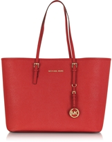 Michael Kors Jet Set Travel Medium Bright Red Saffiano Leather Top-Zip Tote