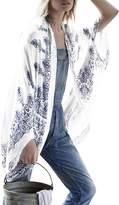 Bess Bridal Women's Cotton Floral Loose Maxi Cardigan Beachwear Bikini Cover Ups