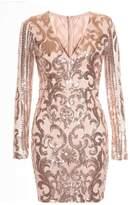 Quiz Nude and Rose Gold Sequin V Neck Long Sleeved Dress