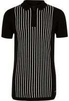 River Island Boys black stripe knit zip polo shirt