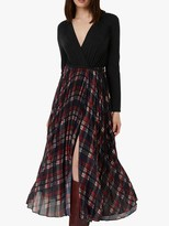 French Connection Armo Mix Jersey Check Midi Dress, Charcoal Melange/Multi