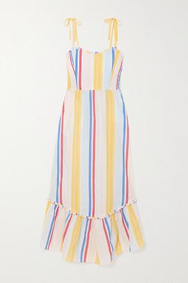 Lemlem + Net Sustain Jima Smocked Striped Woven Dress - Yellow