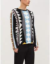 Valentino Geometric-pattern wool and cashmere-blend jumper