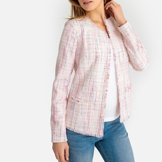 Anne Weyburn Woven Fitted Collarless Jacket with Fringed Edging