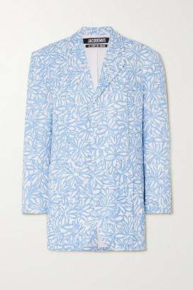 Jacquemus Oversized Floral-print Woven Blazer - Blue