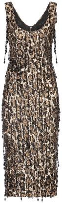 Dolce & Gabbana Leopard Sequin-Embellished Sheath Dress