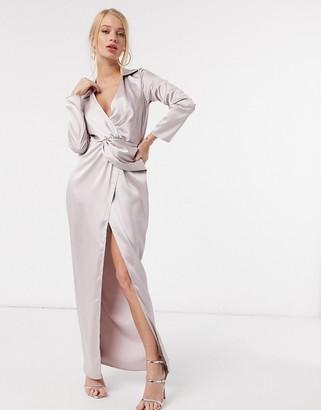 Flounce London twist-front plunge asymmetric maxi shirt dress in antique