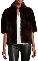 Diane von Furstenberg Rabbit Fur Bolero Jacket, Wine