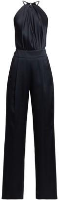 Mason by Michelle Mason Pleated Halter Silk Jumpsuit