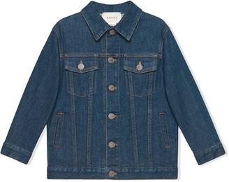 Gucci Kids Children's denim jacket with Gucci logo