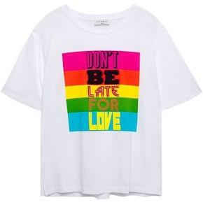 Sandro Gaele Embellished Printed Cotton-jersey T-shirt
