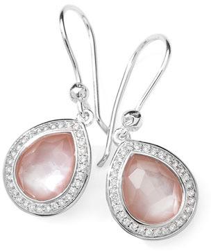 Ippolita Stella Teardrop Earrings in Pink Mother-of-Pearl & Diamonds, 28mm