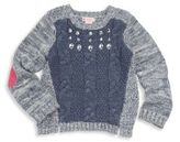 Design History Toddler's & Little Girl's Embellished Cable Knit Sweater